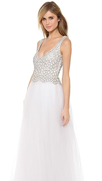 Collette Dinnigan Beaded Tulle Gown