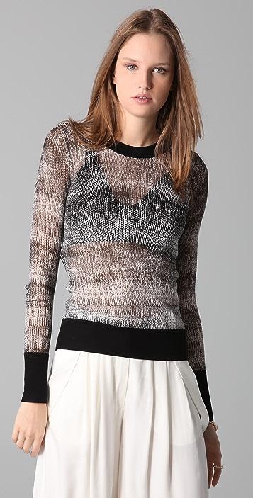 Derek Lam 10 Crosby Crew Neck Print Sweater
