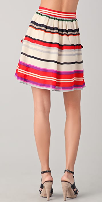 Derek Lam 10 Crosby Striped Flounce Skirt