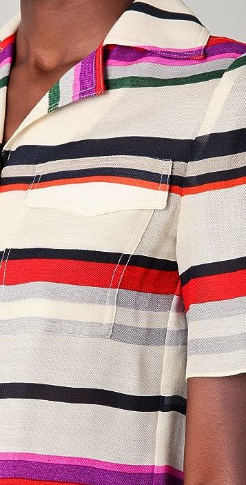 Derek Lam 10 Crosby Striped Camp Shirt