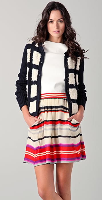Derek Lam 10 Crosby Checkered Front Cardigan