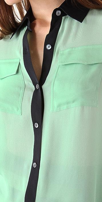 Derek Lam 10 Crosby Long Sleeve Patch Pocket Shirt