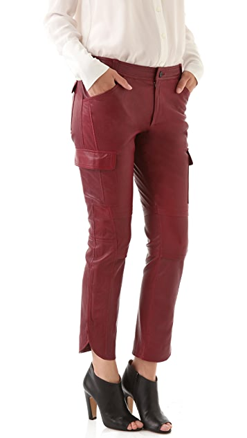 Derek Lam 10 Crosby Stretch Leather Cargo Pants