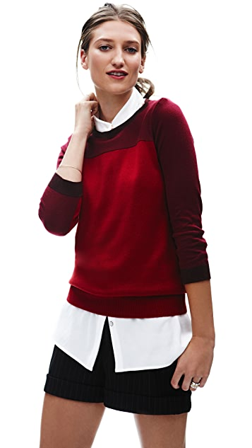 Derek Lam 10 Crosby Three Tone Crew Neck Sweater