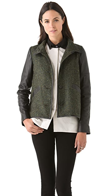 Derek Lam 10 Crosby Tweed Jacket with Leather Sleeves
