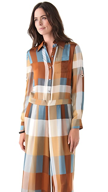Derek Lam 10 Crosby Plaid Wide Leg Jumpsuit