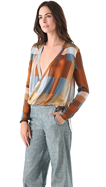 Derek Lam 10 Crosby Plaid Wrap Blouse