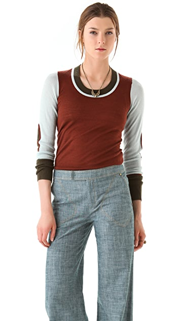 Derek Lam 10 Crosby Colorblock U Neck Sweater