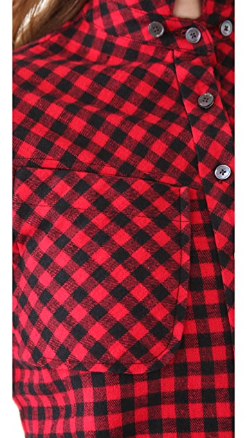 Derek Lam 10 Crosby Double Collar Flannel Shirt