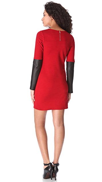 Derek Lam 10 Crosby Sweater Dress with Leather Sleeves