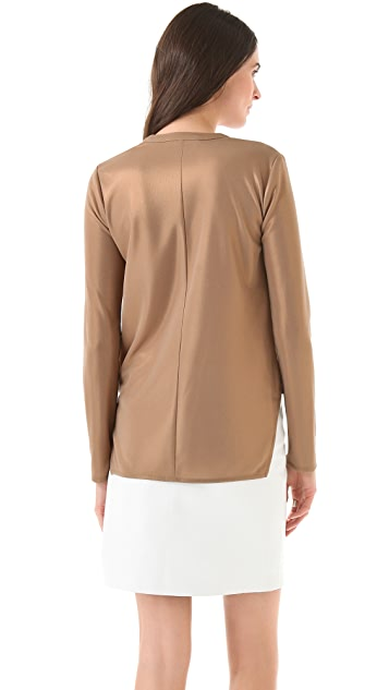 Derek Lam 10 Crosby Foiled Wrap Front Blouse