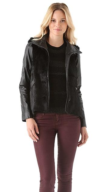 Derek Lam 10 Crosby Rabbit Fur Jacket with Leather Sleeves