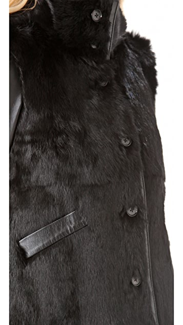 Derek Lam 10 Crosby Rabbit Fur Jacket with Leather Sleeves