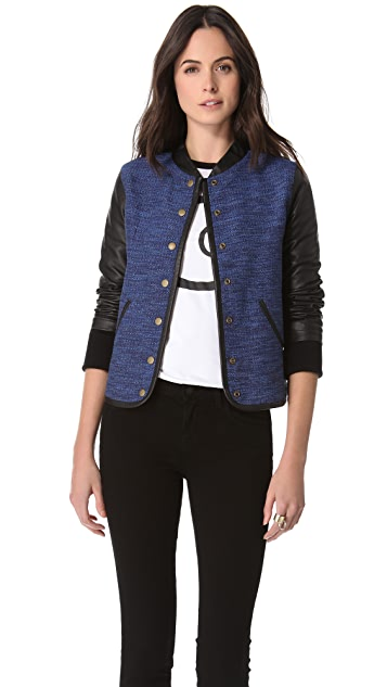 Derek Lam 10 Crosby Varsity Leather Sleeve Jacket