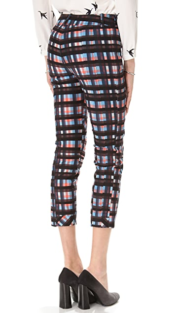 Derek Lam 10 Crosby Plaid Slim Pants with Knee Seams