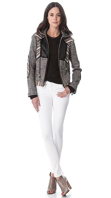 Derek Lam 10 Crosby Hooded Lurex Linen Jacket