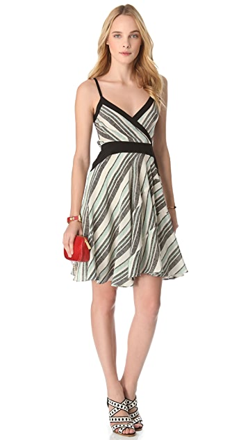Derek Lam 10 Crosby Tone Stripe Surplice Dress