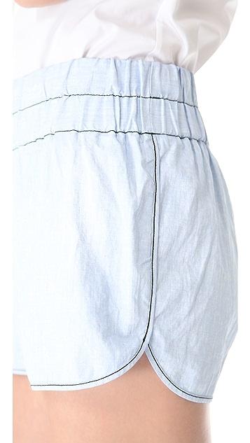 Derek Lam 10 Crosby Chambray Boxer Shorts