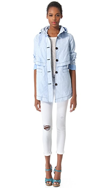 Derek Lam 10 Crosby Chambray Hooded Parka