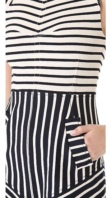 Derek Lam 10 Crosby Sleeveless Combo Stripe Dress