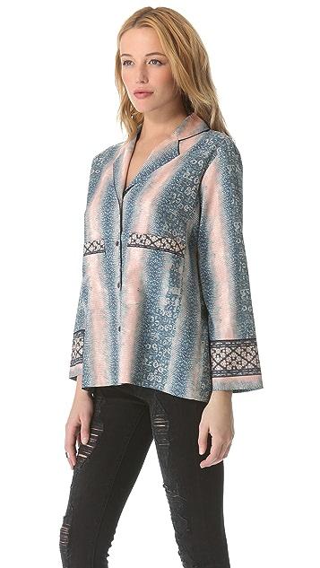 Derek Lam 10 Crosby Lizard Print Pajama Shirt