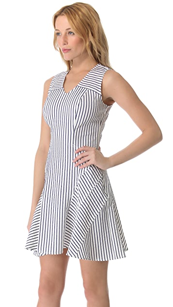 Derek Lam 10 Crosby V Neck Tulip Pinstripe Dress