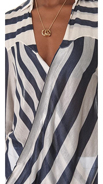 Derek Lam 10 Crosby Striped Surplice Blouse