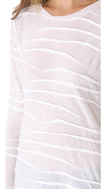 Derek Lam 10 Crosby Textured Long Sleeve Top