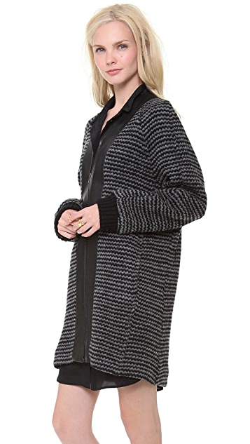 Derek Lam 10 Crosby Oversized Coat with Leather Trim
