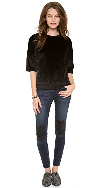 Derek Lam 10 Crosby Oversized Faux Haircalf Top