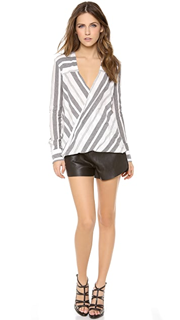 Derek Lam 10 Crosby Stripe Draped Blouse