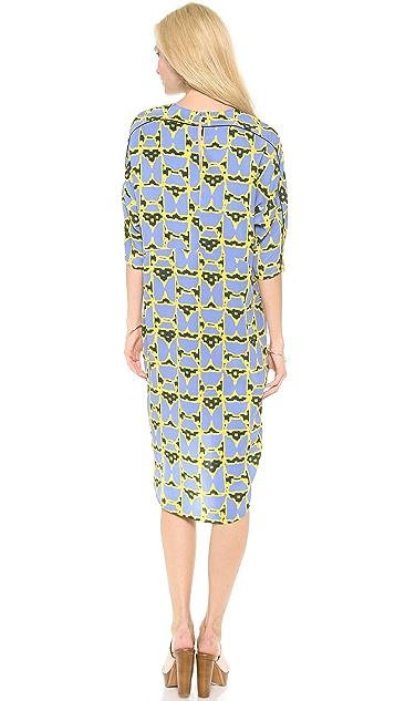 Derek Lam 10 Crosby 3/4 Sleeve Dome Print Dress