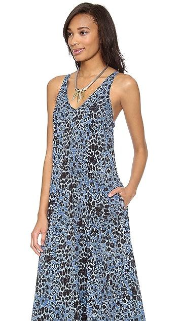 Derek Lam 10 Crosby V Neck Leopard Print Maxi Dress