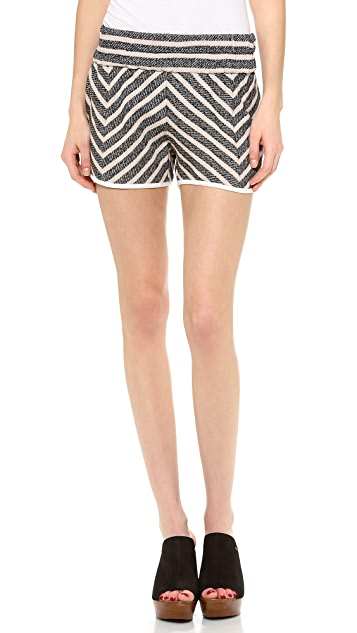 Derek Lam 10 Crosby Elastic Waist Striped Shorts