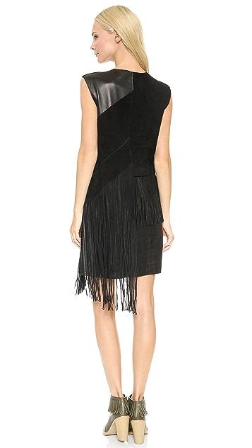 Derek Lam 10 Crosby V Neck Leather Dress with Fringe