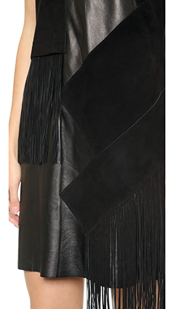 Derek Lam 10 Crosby V Neck Leather Dress with Fringe