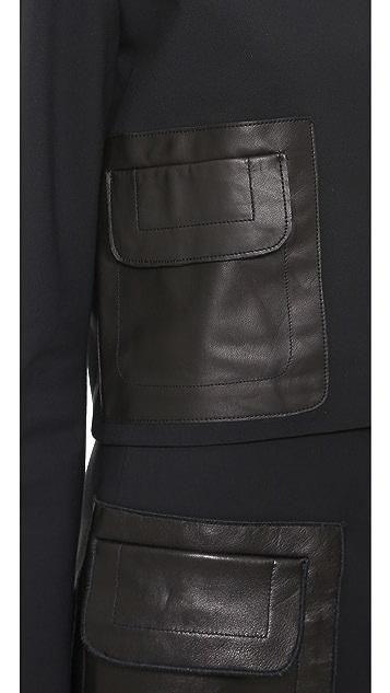Derek Lam 10 Crosby Long Sleeve Top with Patch Pocket