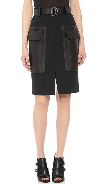 Derek Lam 10 Crosby Belted Patch Pocket Skirt