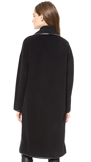 Derek Lam 10 Crosby Wrap Coat with Faux Leather Binding