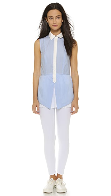 Derek Lam 10 Crosby Button Down with Pleated Hem