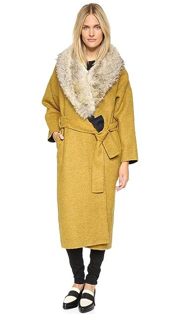 Derek Lam 10 Crosby Reversible Drop Shoulder Coat with Fur