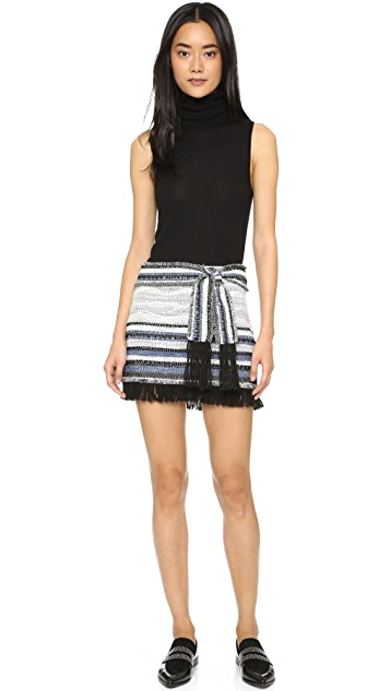 Derek Lam 10 Crosby Basket Weave Skirt with Fringe Detail