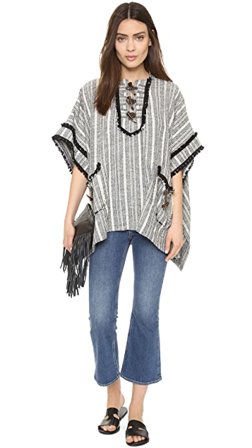 Derek Lam 10 Crosby Poncho with Toggle Detail