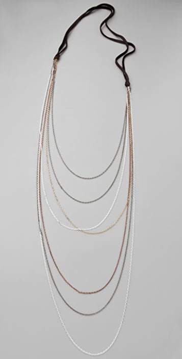 Cynthia Dugan Jewelry Multi Strand Necklace with Leather Back