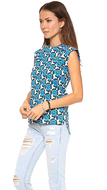 Etre Cecile Neon Floral Sleeveless T-Shirt