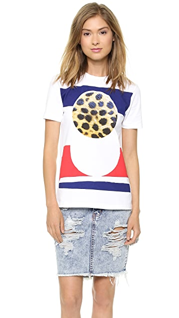 Etre Cecile Cheetah Circle Staple T-Shirt