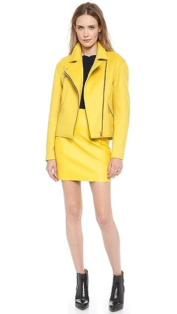 Cedric Charlier Imitation Leather Miniskirt
