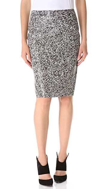 Cedric Charlier Scribble Leather Pencil Skirt