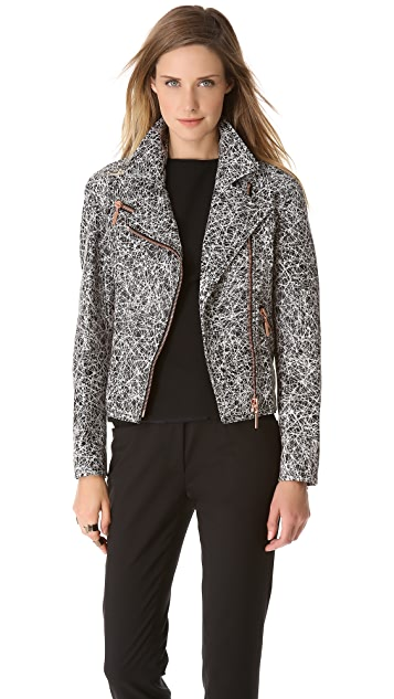 Cedric Charlier Scribble Leather Moto Jacket