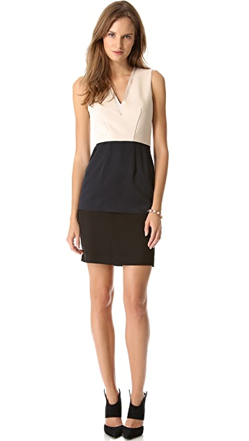 Cedric Charlier Two Tone V Neck Dress